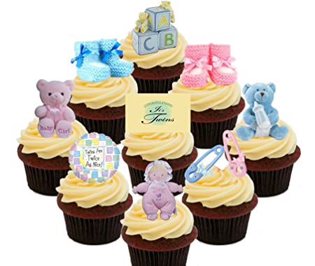 baby shower twins boy and girl edible cupcake toppers pink and