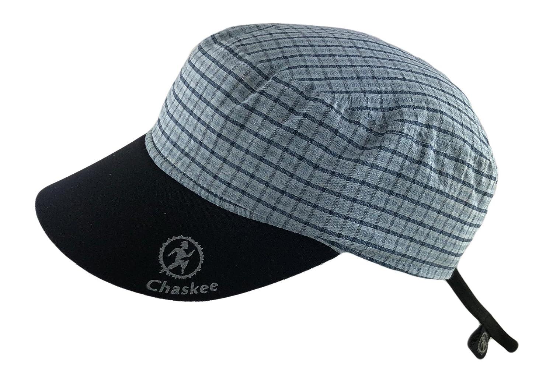 Chaskee - Berretto reversibile Karo con visiera in neoprene e protezione UV 80, azzurro