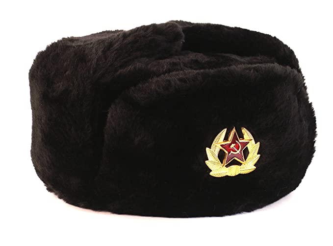 Black Fur Winter Ushanka Russian Hat Large Size with Secret Pocket and RED  STAR Emblem ( bbcaf6eadda