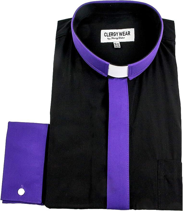 Mens Clergy Tab Collar Long Sleeve Dress Shirt Purple Frenchcuff Pastor Preacher