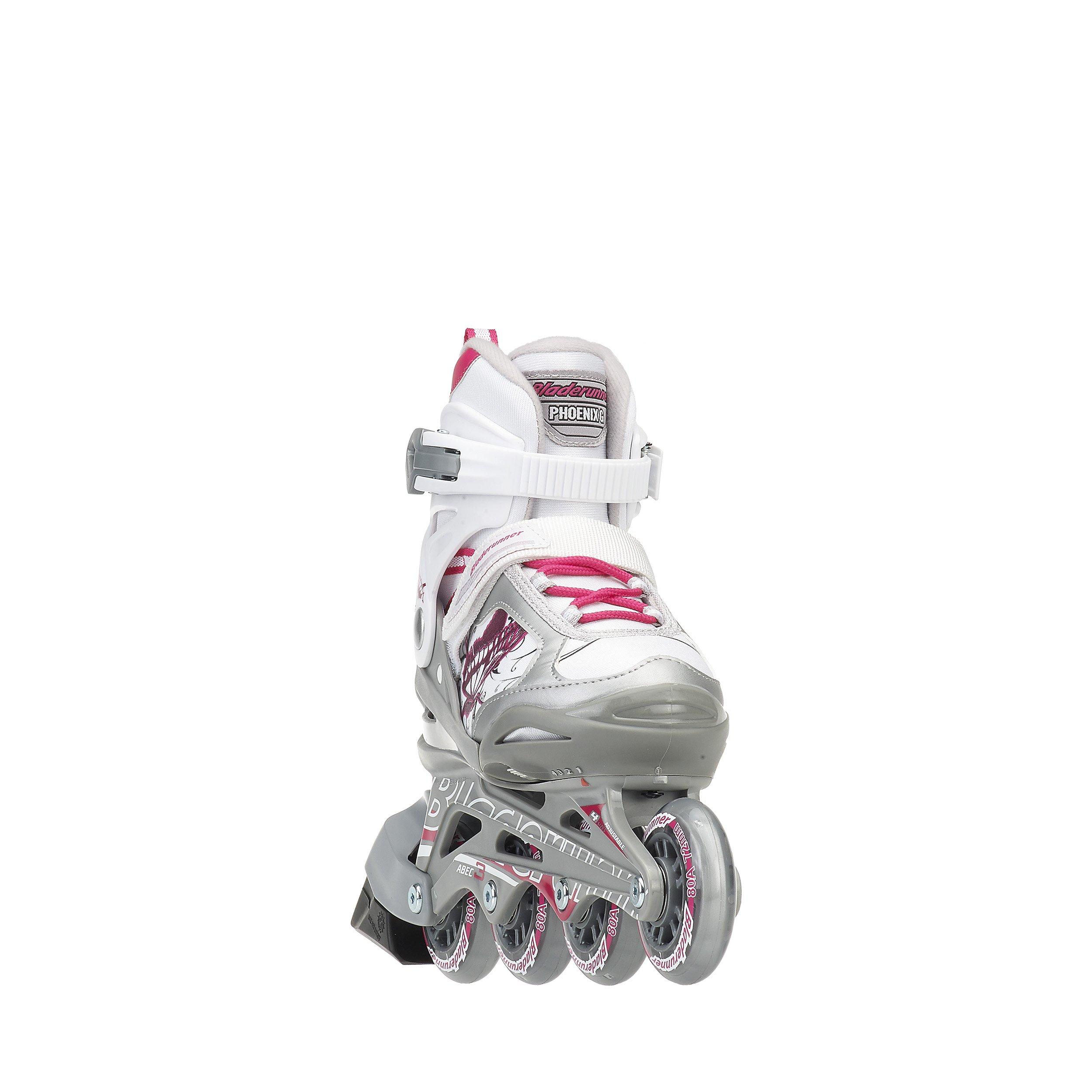 Rollerblade Bladerunner Phoenix Girls Adjustable Fitness Inline Skate, White and Pink, Junior, Value Performance Inline Skates, Youth Junior 1 to 4 by Rollerblade (Image #3)