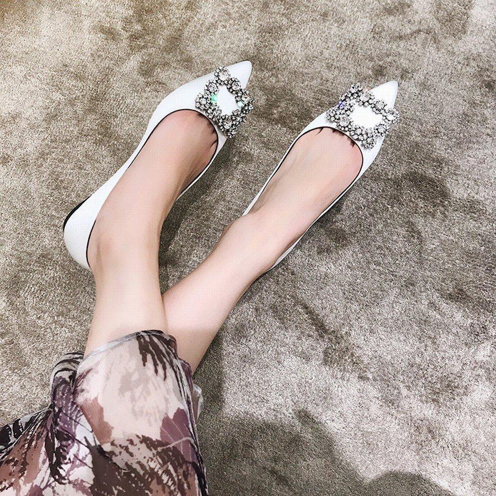 DHG Scharfe Niedrig-Hochhackige Diamantfrauen beschuhen Flache Einzelne Schuhe Wilden des Flachen Munds des Wilden Schuhe Temperaments,Ein,40 - d4e4da