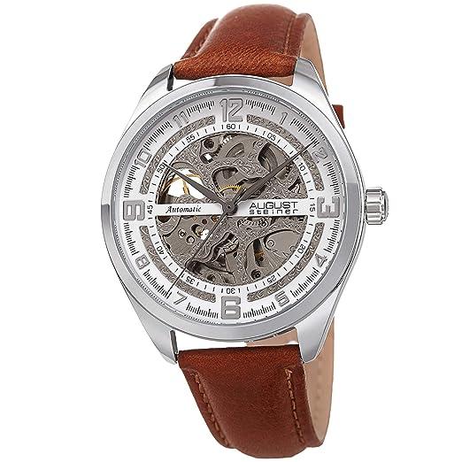 August Steiner AS8264 Reloj de Esqueleto para Hombre, Correa de Piel auténtica, Movimiento mecánico automático, Esfera Transparente: Amazon.es: Relojes
