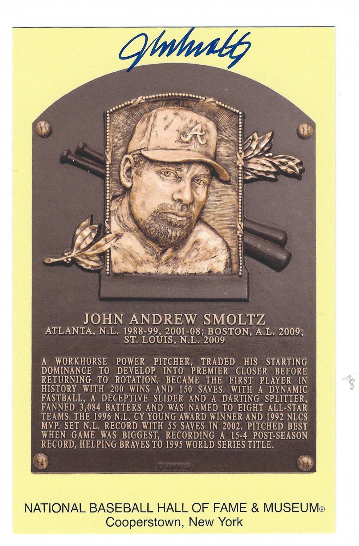 Autographed John Smoltz Hall of Fame Gold Plaque