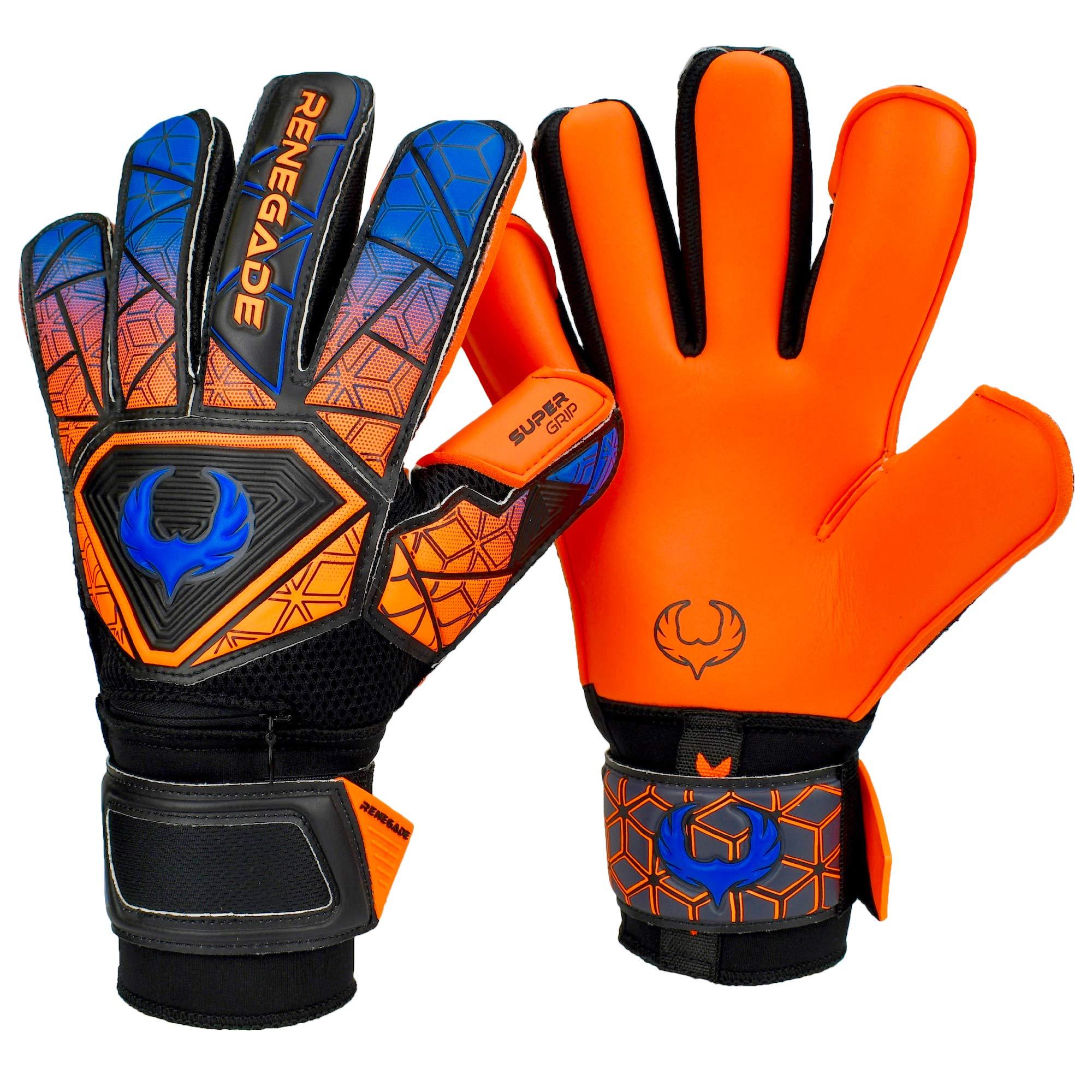 Renegade GK Vortex Salvo Hybrid Cut Level 3 Adult & Youth Goalkeeper Gloves Kids & Hypergrip Palms - Size 6 Goalie Gloves - Youth Soccer Goalie Gloves - Goal Keeper Gloves Kids - Orange, Blue, Black