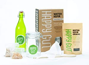 Water KEFIR STARTER KIT By Happy Gut- Includes live water kefir grains, fermentation jar, swivel-top bottle, wooden spoon, strainer, and funnel. Use this kit to create your own.
