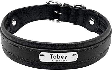 Laser engraved nameplate Vintage pet collar Personalized leather dog collar Black hardware collar Custom Stainless Steel ID Tag