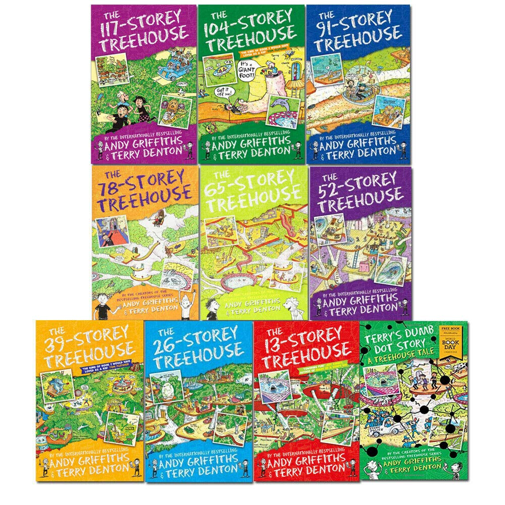 The Treehouse Series 10 Books Collection Set By Andy Griffiths (Storey-Treehouse-13,26,39,52,65,78,91,104,117 & World Book Day) by Macmillan Children's Books