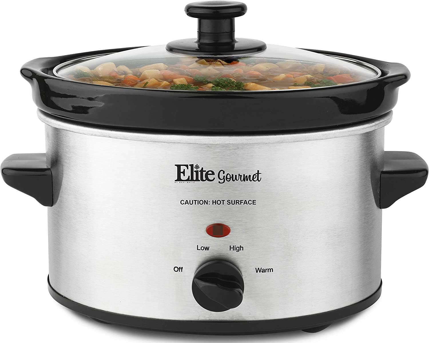 Elite Gourmet MST-275XS Electric Slow Cooker, Adjustable Temp, Entrees, Sauces, Stews & Dips, Dishwasher Glass Lid &Ceramic Pot, 2Qt Capacity, Stainless Steel (Renewed)