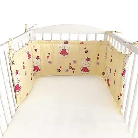 BlueberryShop Cotton Nursery Baby Bedding Set Pillowcase 40 x 60 cm Cot Bumper 35 x 150 cm Duvet Cover 90 x 120 cm Intended for Kids Aged 0-3 Years Cream Giraffe