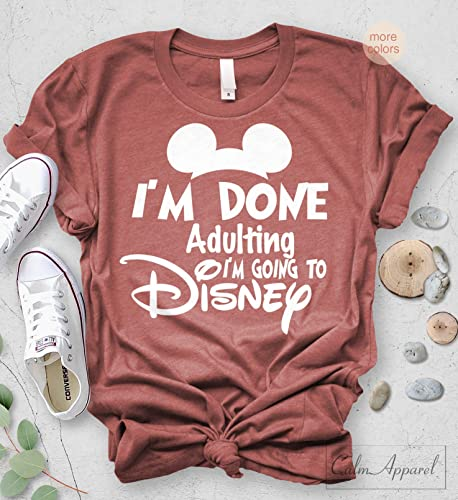 74d877f34 Amazon.com: I am Done Adulting Lets Go to Disney T-shirt Funny Letter Print  Unisex Tops: Handmade