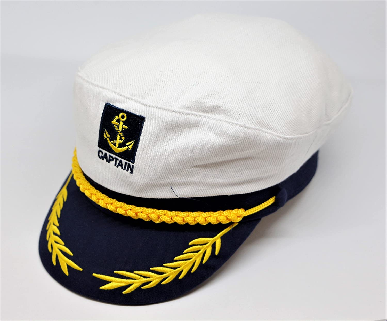 Gorra capitán blanco marinera visera Barco náutica velero: Amazon ...