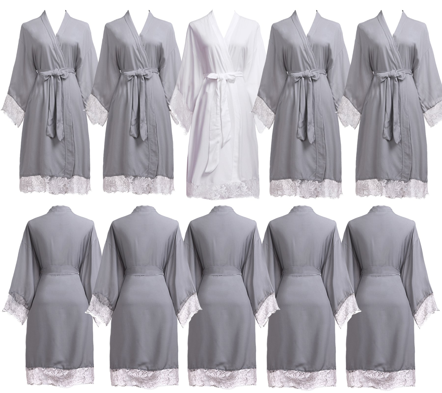 PROGULOVER Set Of 7-10 Women's Imitation Cotton Wedding Robes For Bride and Bridesmaid Wedding Party Kimono Robes Short