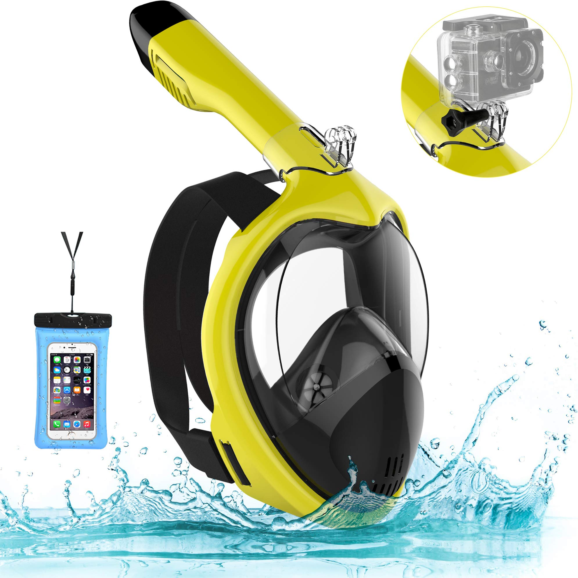 Poppin Kicks Full Face Snorkel Mask for Adult Youth and Kids | 180° Panoramic View Anti-Fog Anti-Leak Easy Breathe GoPro Compatible w/Detachable Camera Mount Bumblebee S/M