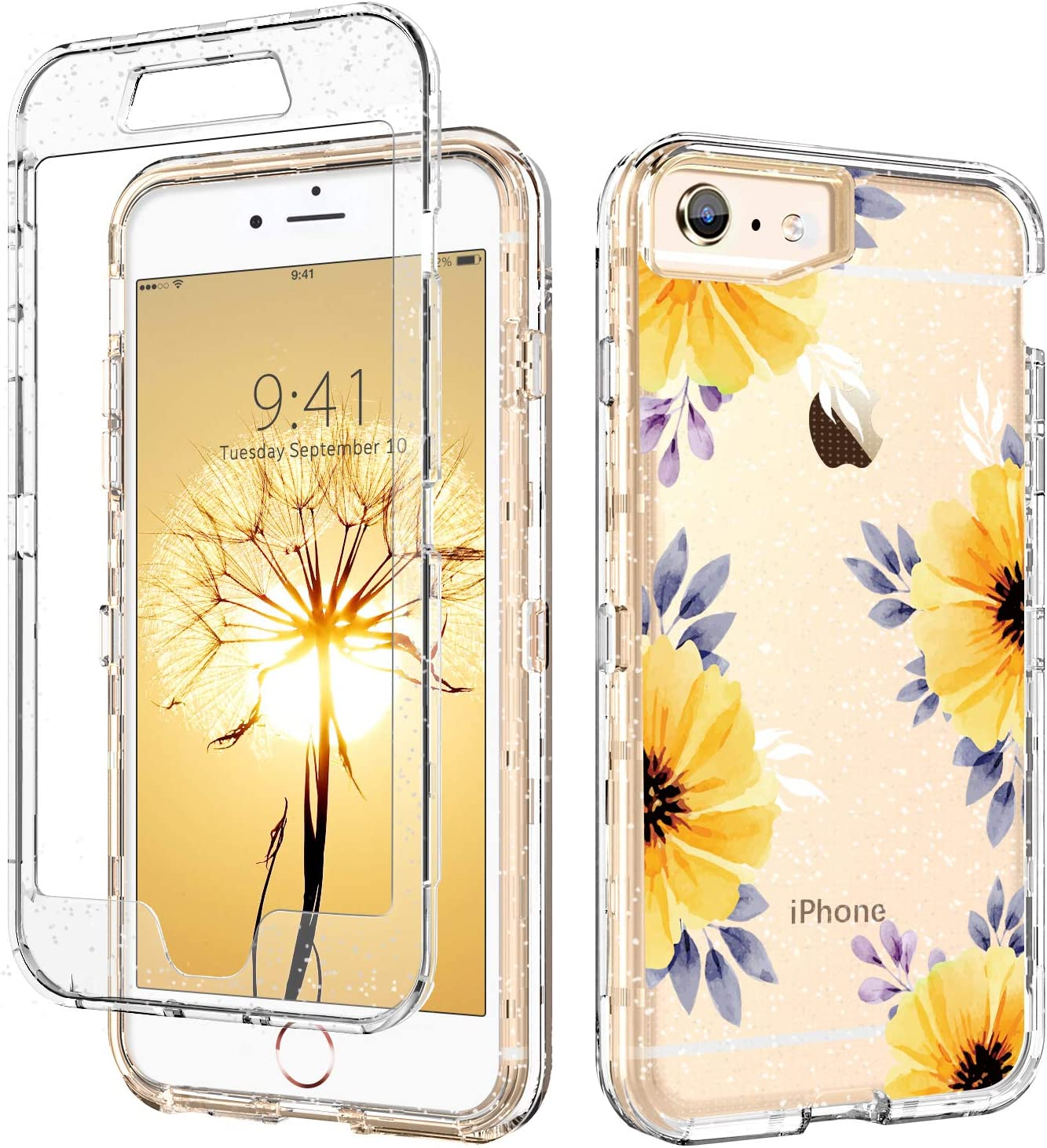 DUEDUE iPhone SE 2020 Case, iPhone 6/6S Case, 3 in 1 Glitter Shockproof Drop Protection Heavy Duty Hybrid Hard PC Transparent TPU Bumper Full Body Protective Case for iPhone 6/6S/SE 2,Flower