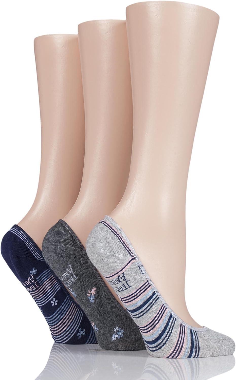 Ladies 3 Pair Jennifer Anderton Striped Cotton Invisible Socks