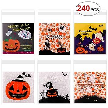 Howaf 240 Halloween Bolsas de Caramelos Autoadhesivas Galleta Piscolabis Bolsas Plástico para Frutos Secos, Caramelos, Chocolate, Bolsa para Regalos ...
