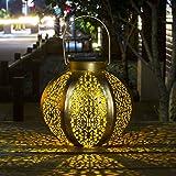 Homeimpro Solar Lantern Hanging Outdoor Warm White LED Garden Lights Metal Waterproof Table Lamp Decorative