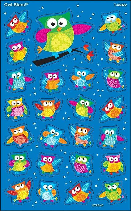 superShapes Stickers-Large Inc Owl-Stars 200 ct T-46322 TREND enterprises