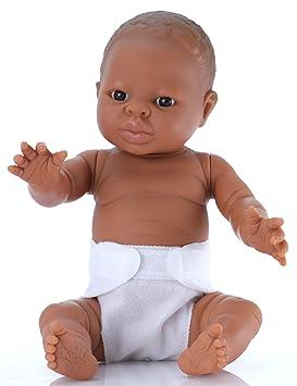 Belonil Tiny, muñeca bebé mestiza con pañal, 34 cm (The Doll Factory Europe