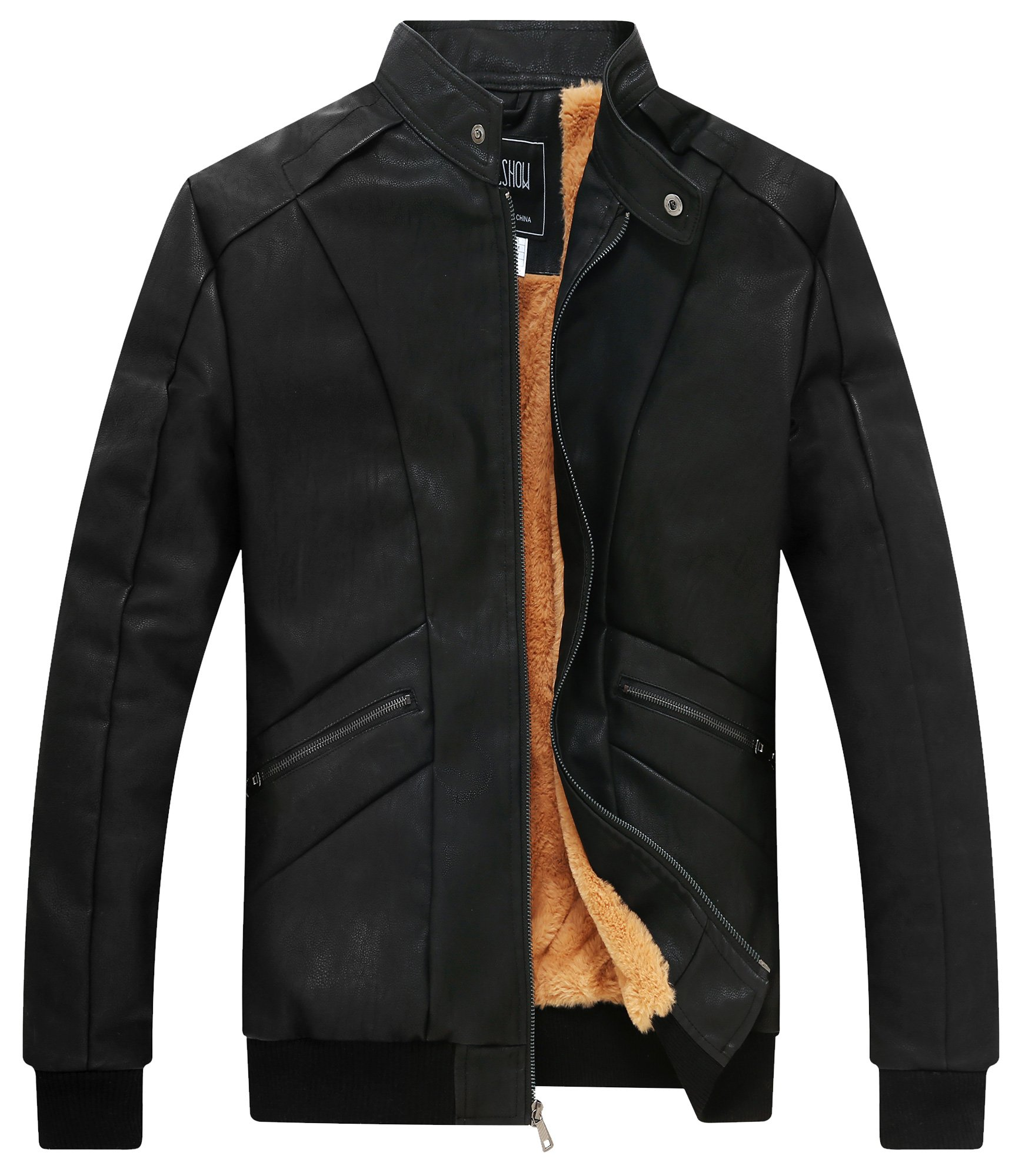 ZSHOW Men's Add Wool Leather Jacket Leather Biker Jackets Waterproof Winter Jacket(Black Wool,X-Small)