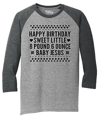 8bb1b5b4 Comical Shirt Mens 3/4 Triblend Happy Birthday Sweet Baby Jesus Funny Ugly  Sweater Christmas