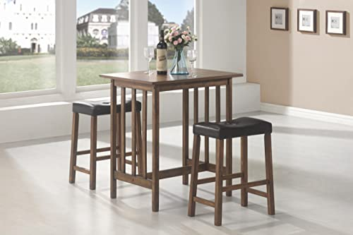 3-Pc Counter Table Set in Brown Finish