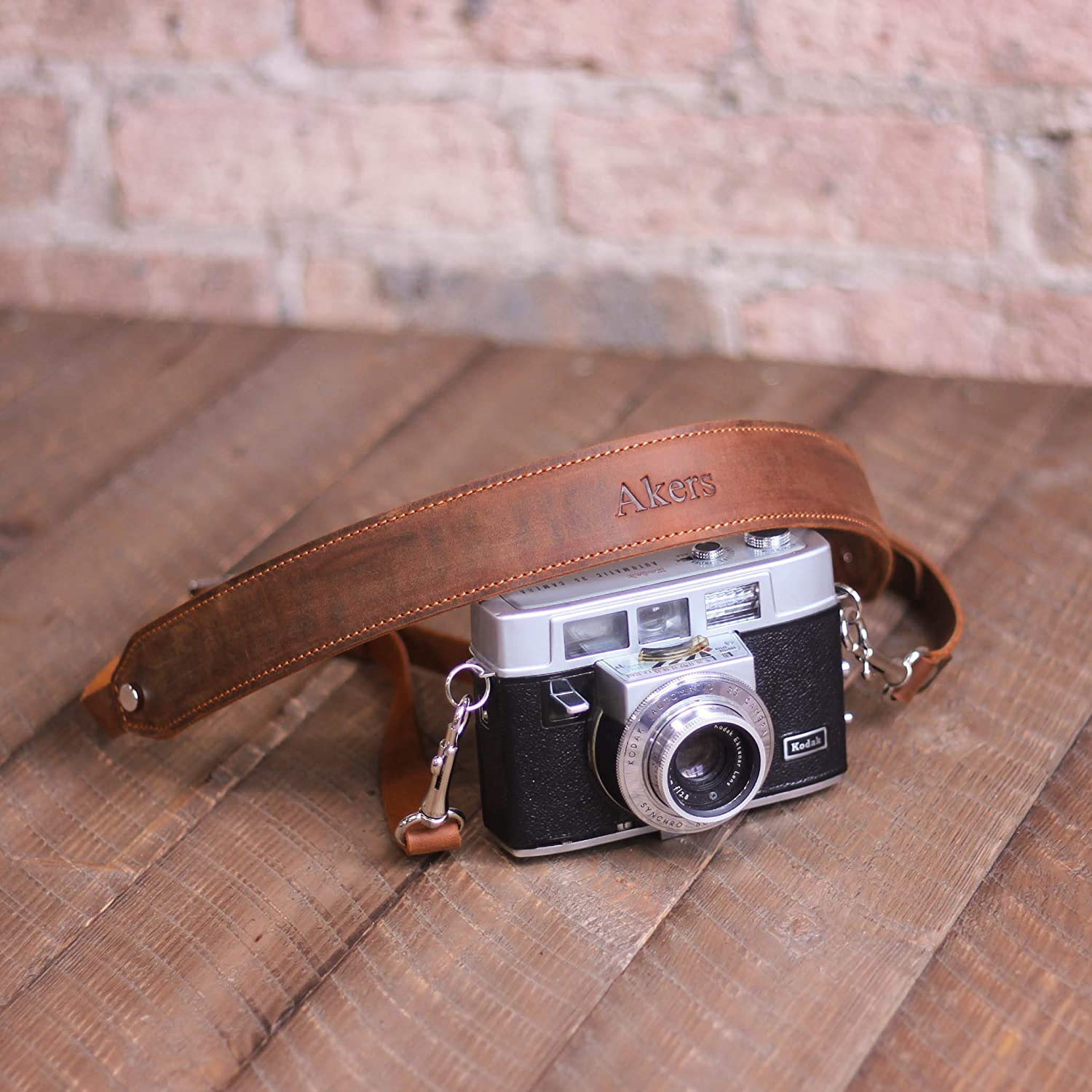 Pegai Personalized Rustic Leather Pro DSLR Camera Strap - Steve