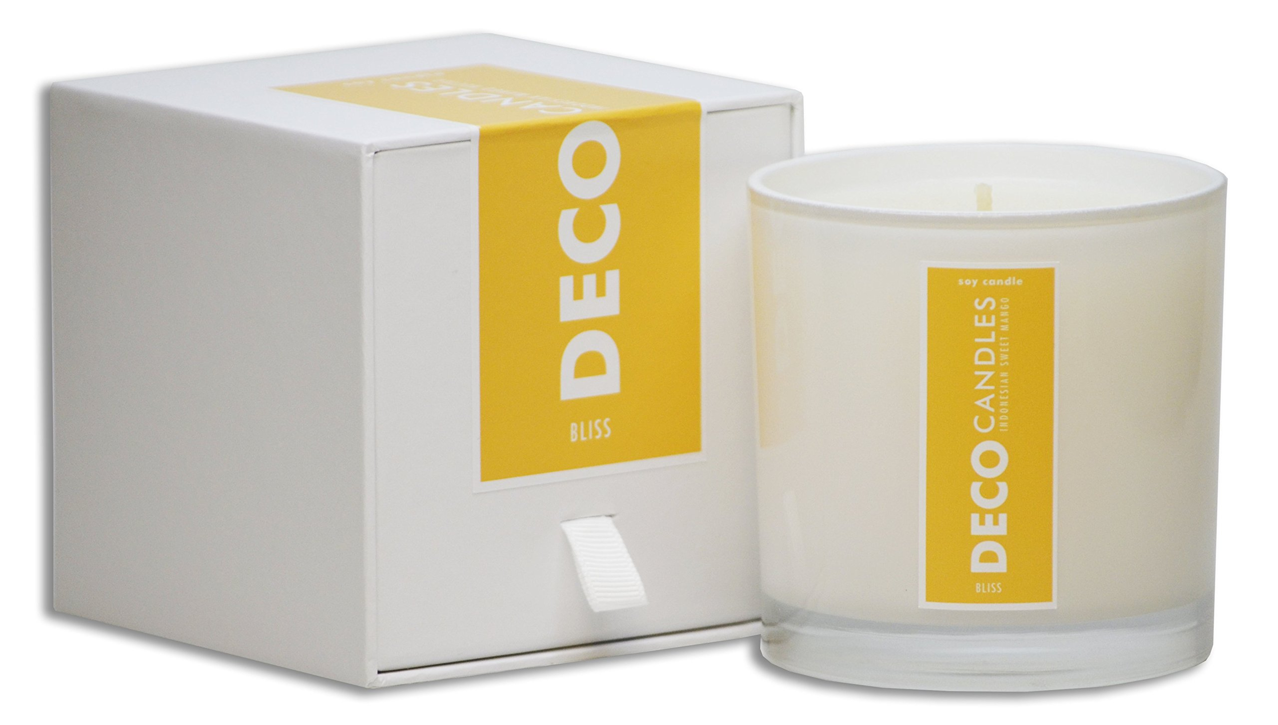 DecoCandleS Bliss- Sweet Mango | Highly Scented | Long Lasting Soy Candle | Hand Poured in the USA | Signature Scent for The Spa at The Conrad Miami, FL | 9 Oz.