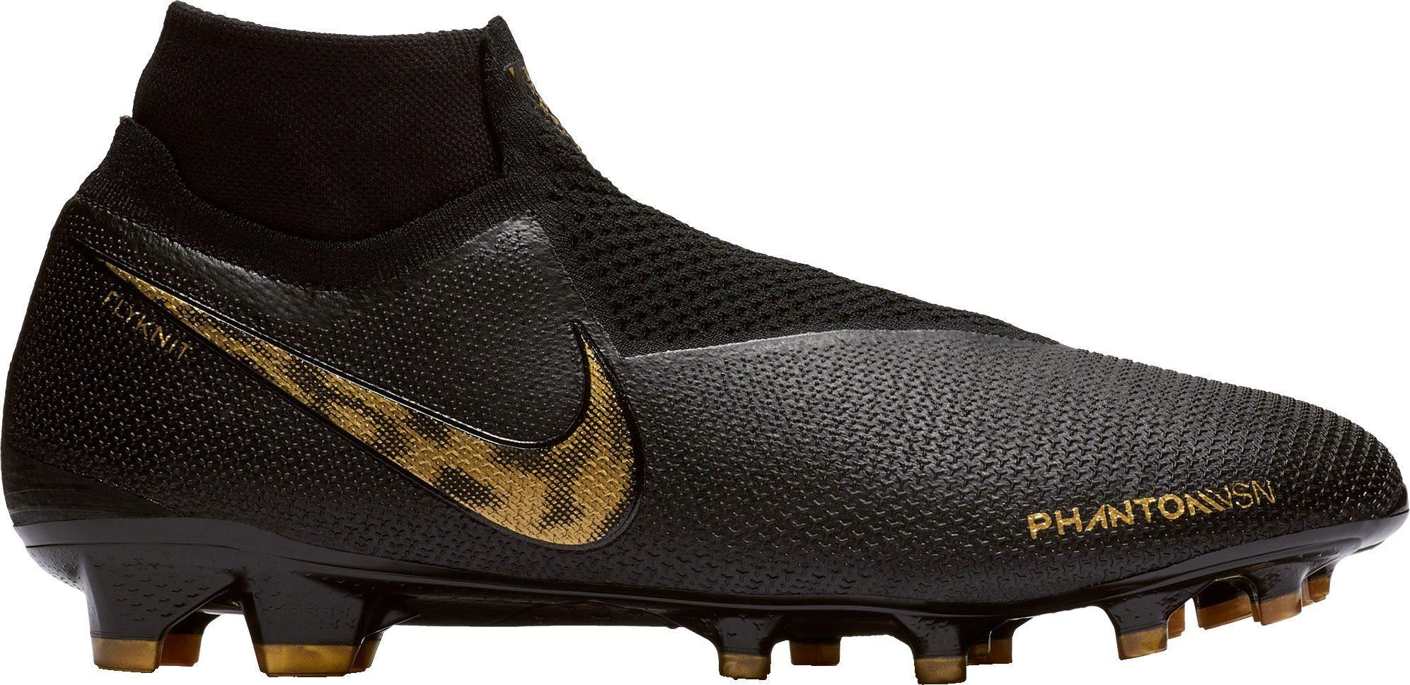 Nike Phantom Vision Elite Dynamic Fit FG Soccer Cleats(Black/Gold,M5W65,Medium)