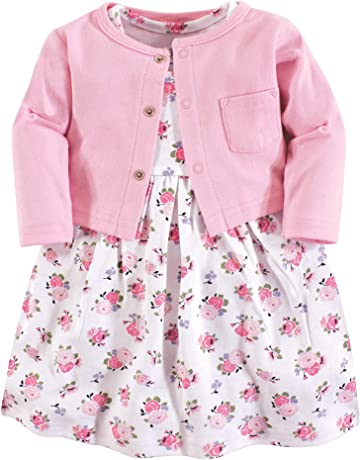 598e2bd8f Luvable Friends Baby Girls' Dress and Cardigan Set