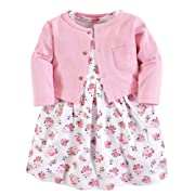 Luvable Friends Baby Girls Dress and Cardigan Set, Pink Floral, 12-18 Months (18M)