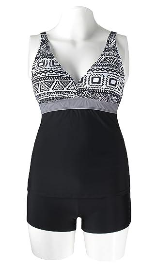 2d6ce1ddab1 Amazon.com  Miturn Womens Push Up Padded Tankini Top Retro 2 Pieces Swimsuit  Skort Bottom Set Plus Size  Clothing