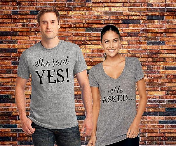 5498ae7d43 Amazon.com: She Said Yes Shirts, Couples Shirts, Bachelorette Party Shirt, Wedding  Shirts, Wedding Gift, Bridal Party Shirts, Engagement Shirt: Handmade