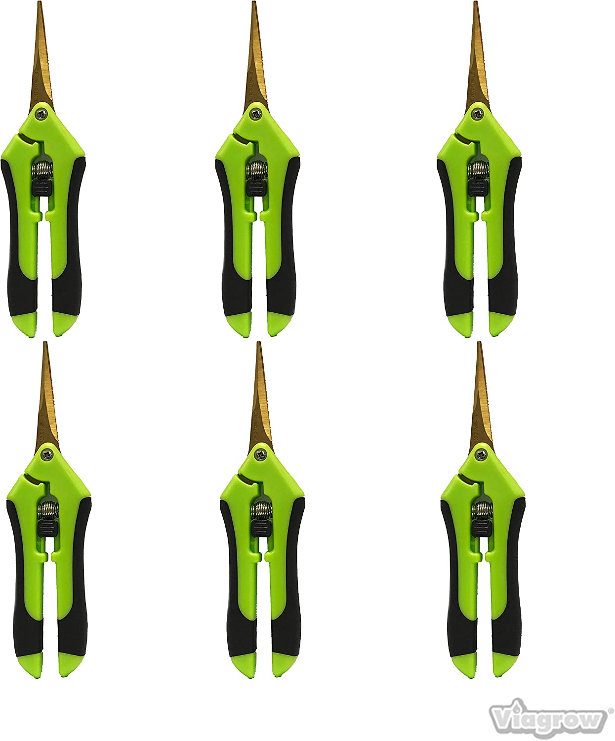 Viagrow V388C-6 Curved Non Soft Grip Micro-Tip Pruning Snip with Stra, 6-Pack, Green
