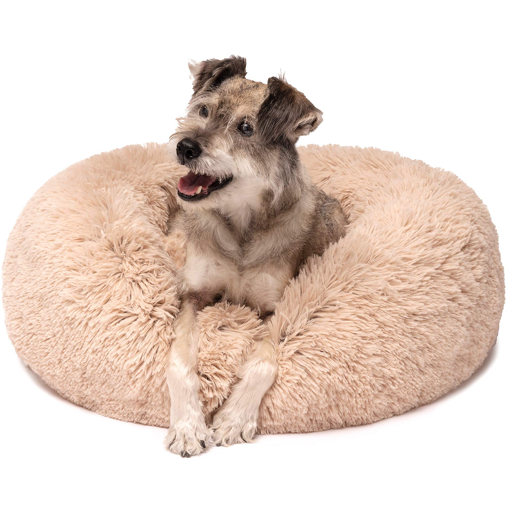 Friends Forever Amazingly Calming Bed for Dogs, Donut Dog Bed for Pet Comfy, Marshmallow Cat Beds - Tan 30 X 30 Inch by Friends Forever