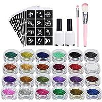 XUBX Glittertattooset, Glitter tattoo set, Tijdelijke tatoeages Kit met 24 glittertubes en 120 sjablonen, 2 borstels, 2…