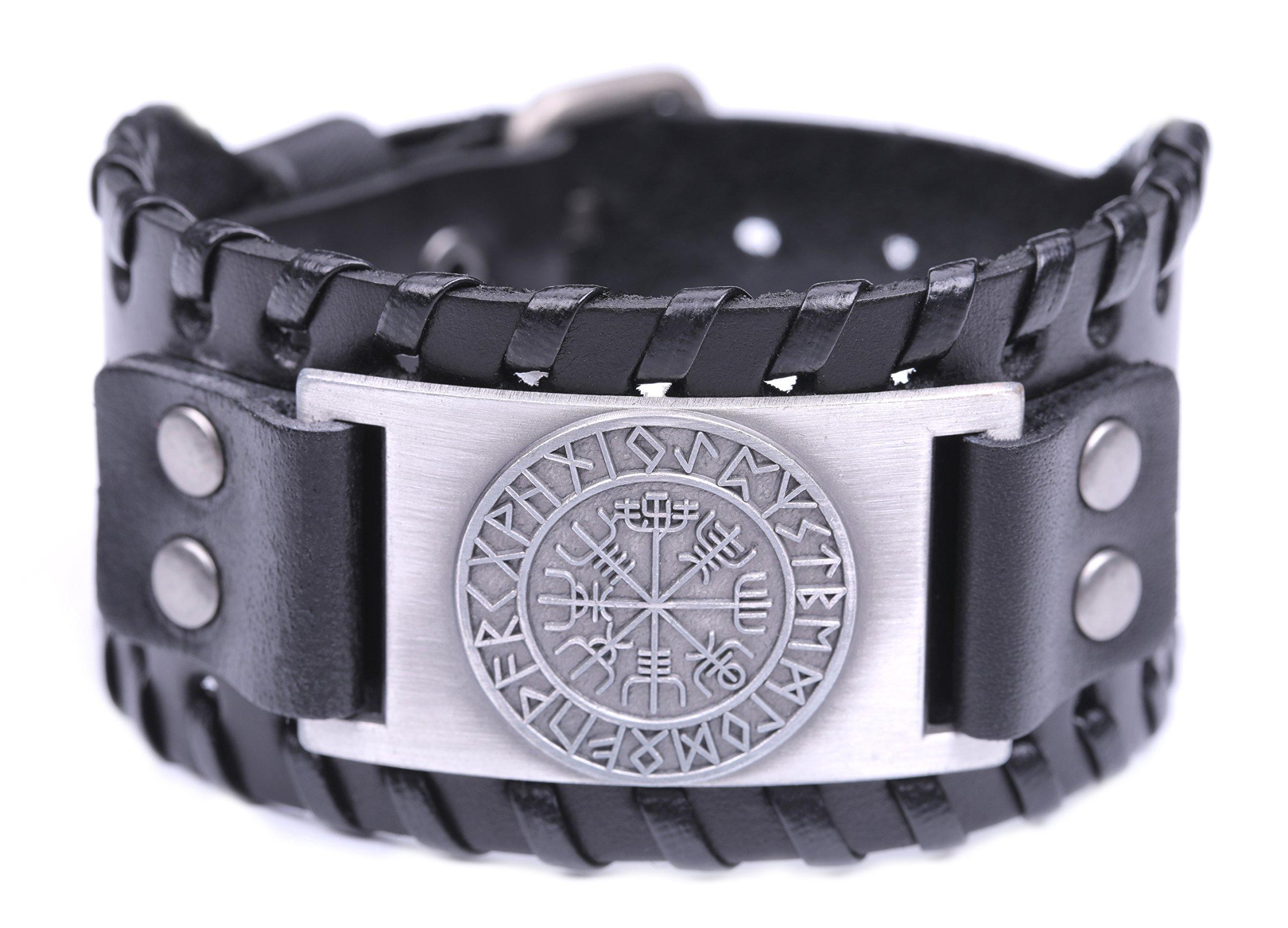 VASSAGO Vintage Nordic Viking Runes Wicca Vegvisir Compass Charm Cuff New-style Belt Buckle Bracelet (Black Leather, Antique Silver)