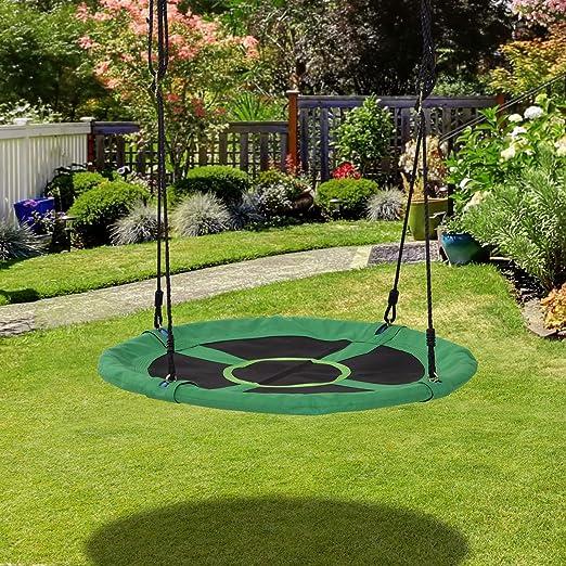 HOMCOM Columpio Nido Infantil Columpio de Árbol Forma Redonda Columpio para Niños Carga 100kg Jardín Exterior al Aire Libre Asiento Cómodo Tela de Oxford: Amazon.es: Hogar