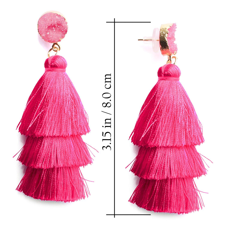 edfd00f2f Me&Hz Women's Hot Pink Tassel Earring Fringe Drop Dangle Long Layered  Thread Tassel Earrings Bohemian Jewelry - ME04T08 < Drop & Dangle <  Clothing, ...