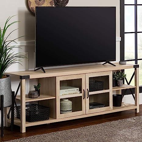 Amazon.com: Walker Edison Modern Farmhouse Metal X Wood Stand Storage Cabinet For TV