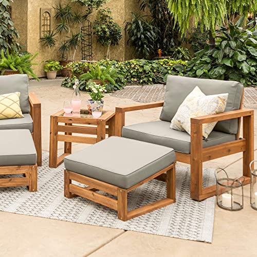 Walker Edison Modern Outdoor Wood Patio Furniture Set Chairs and Ottoman Side Table