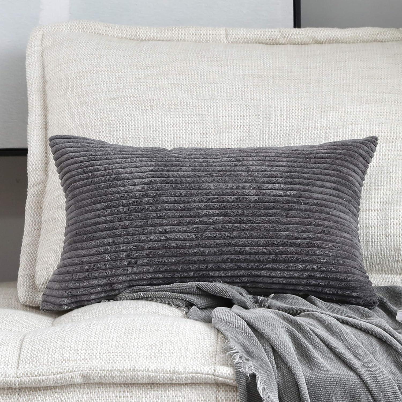 Home Brilliant Decorative Plush Striped Velvet Corduroy Oblong Pillowcase Accent Cushion Cover, 12 x 20 inch (30x50 cm), Dark Grey