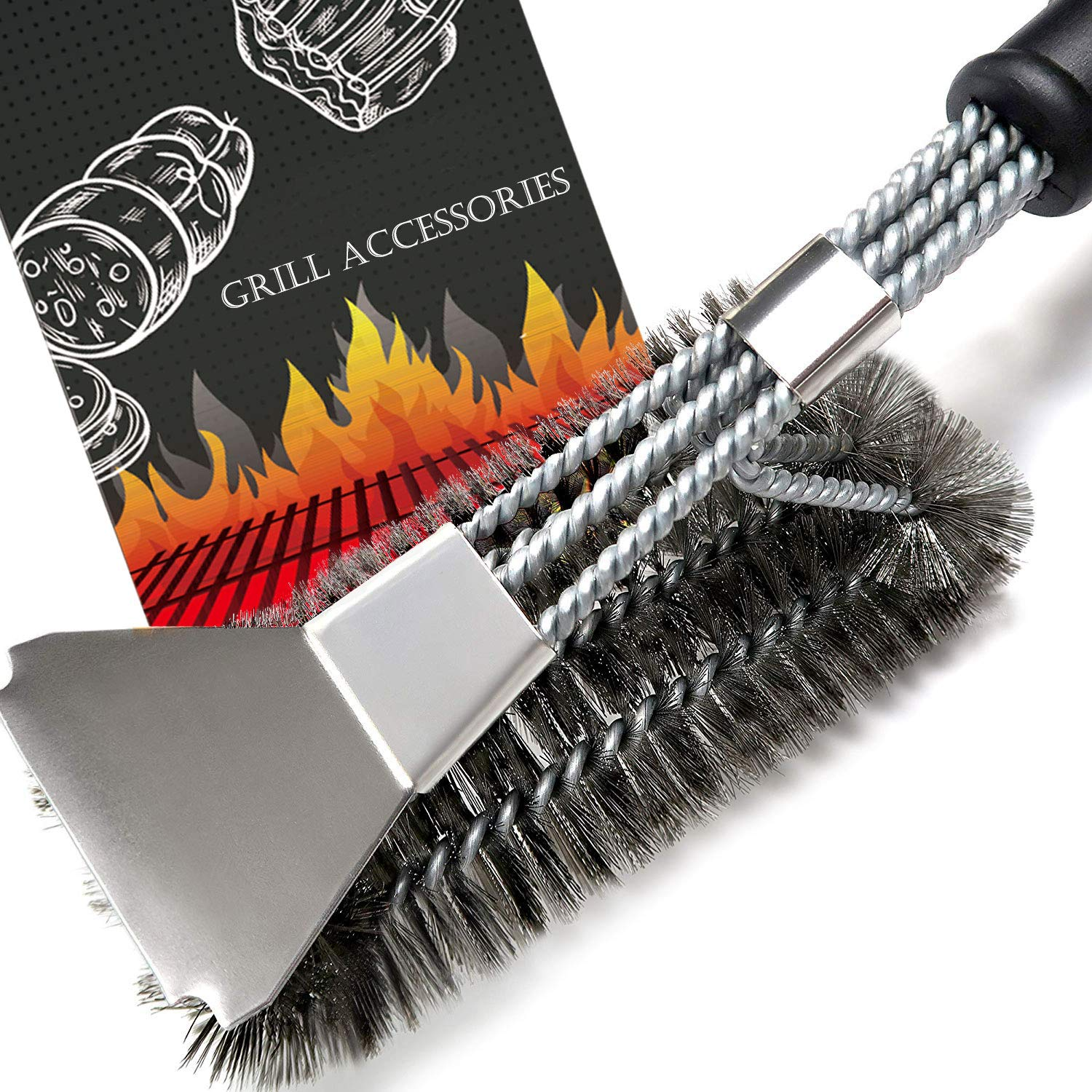 HOMEKOKO Spring Sale Heavy Duty Grill Brush with Scraper BBQ Brush for Grill Safe 18 Stainless Steel Woven Wire 3-in-1 Bristles Grill Cleaning Brush for Weber Gas//Charcoal Grill