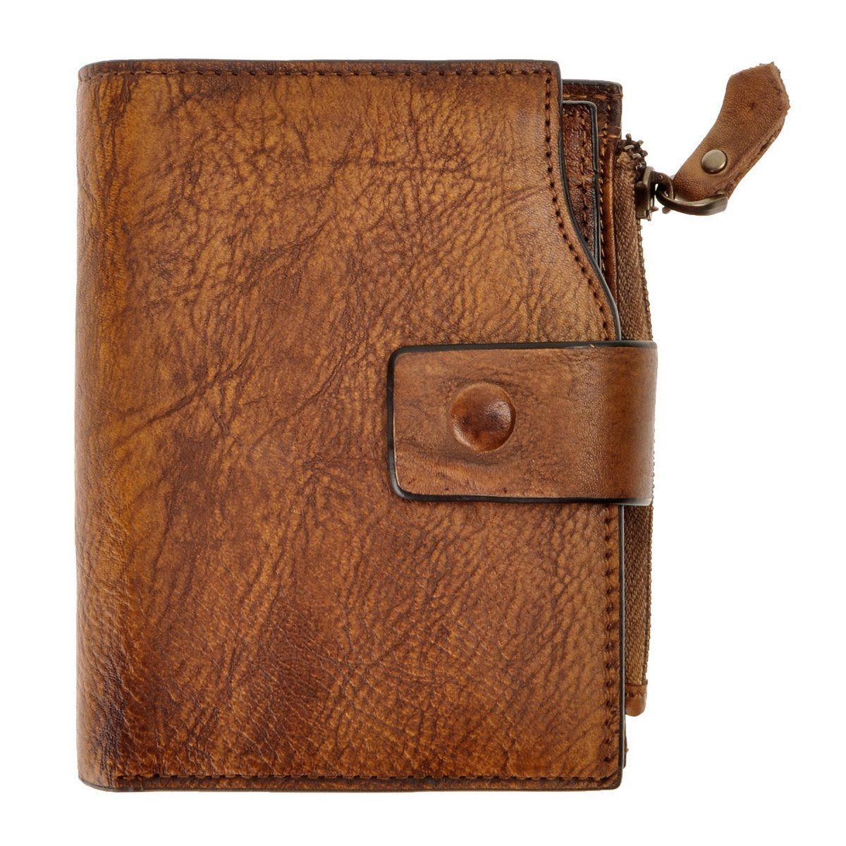 Brown ZLYC Women Vintage Style Handmade Dip Dye Leather Wallet with Card Holder