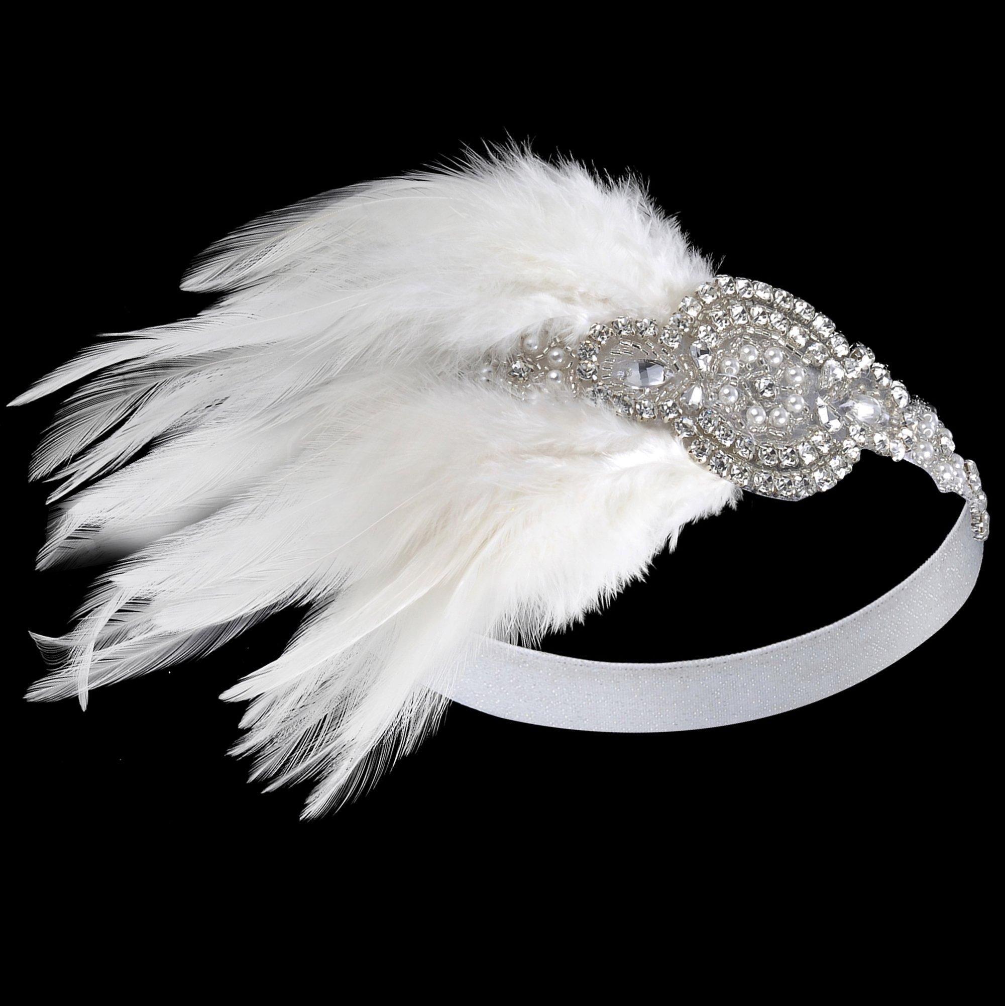 BABEYOND 1920's Bridal Headpiece Roaring 20s Wedding Headband Flapper Feather Headband 1920s Flapper Gatsby Hair Accessories (White-1)