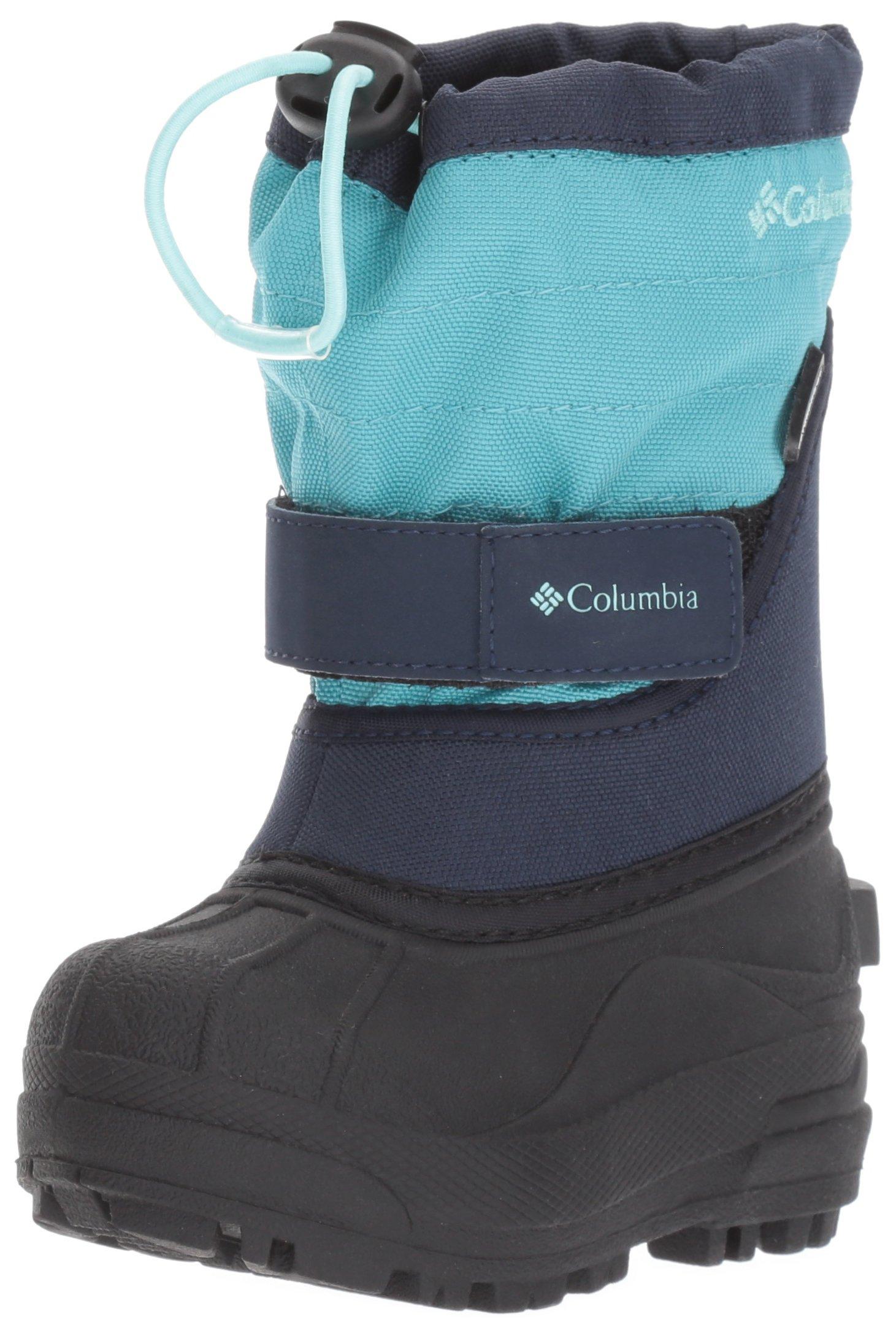 Columbia Girls' Powderbug Plus II Snow Boot, Pacific Rim, Spray, 7 M US Toddler