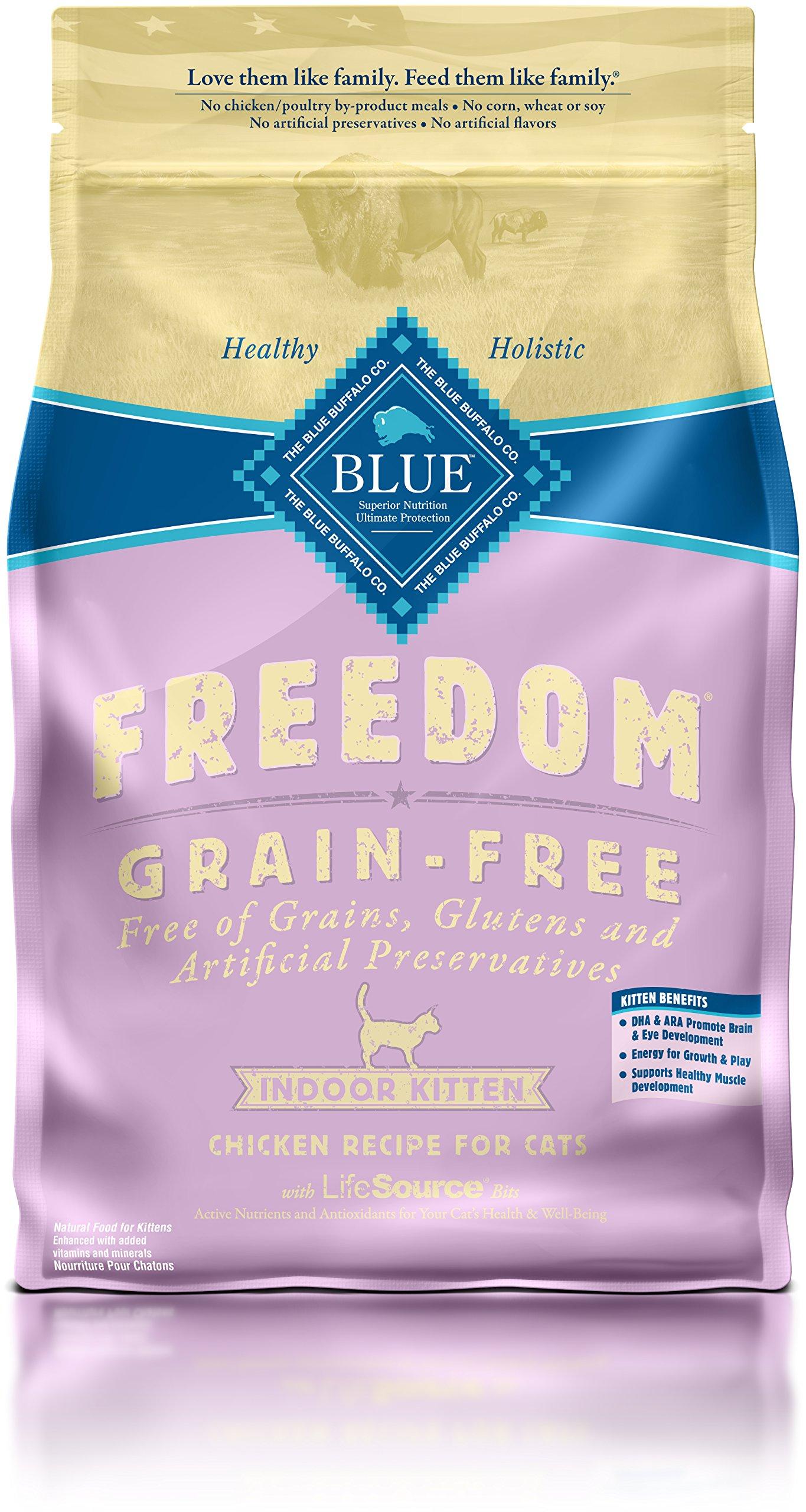BLUE Freedom Kitten Indoor Grain Free Chicken Dry Cat Food 5-lb.