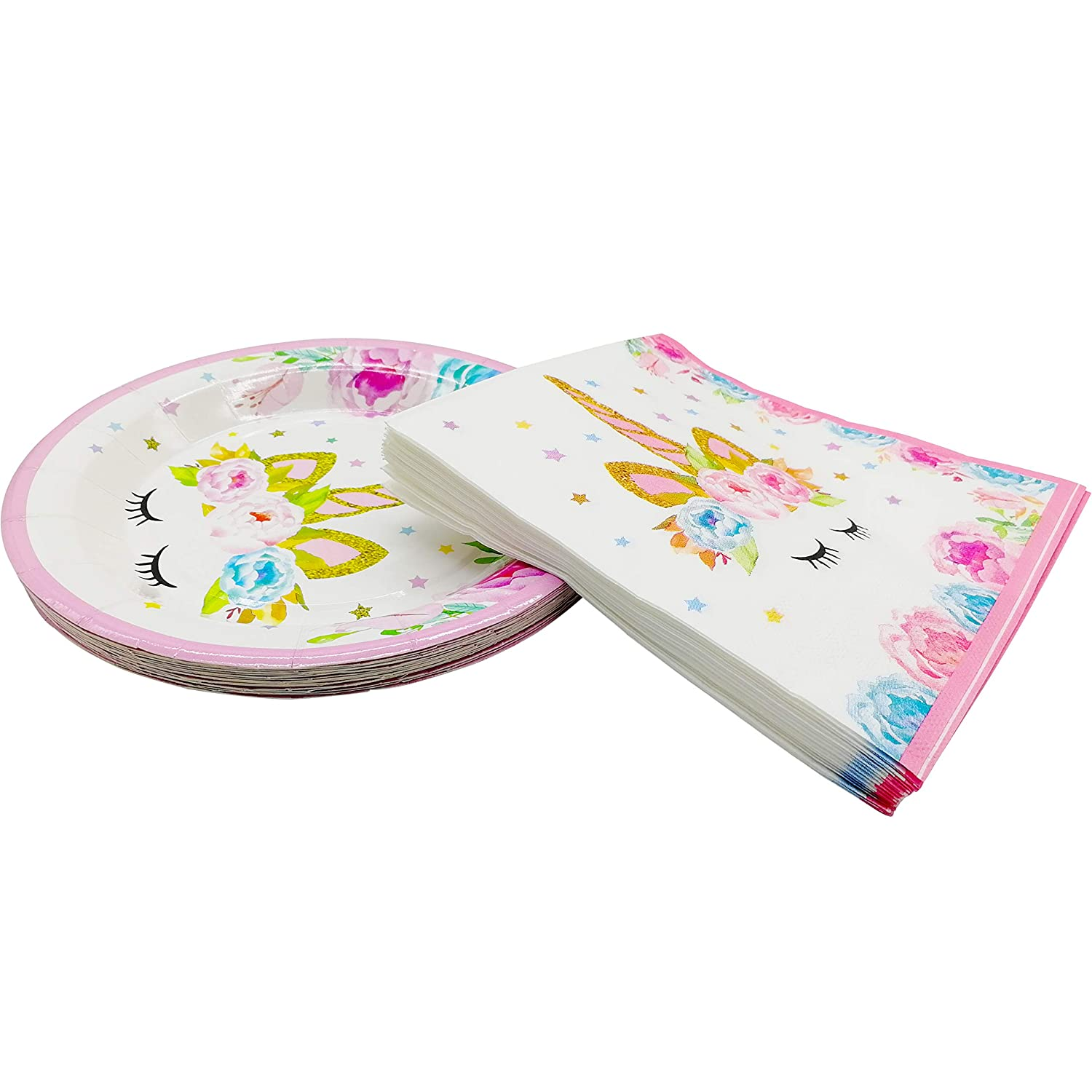 Unicorn Dinner Plates and Napkins Unicorn Theme Birthday Party Decorations for Girls Kids and Baby Wedding Shower Fit 16 Guests Unicorn Party Supplies Set