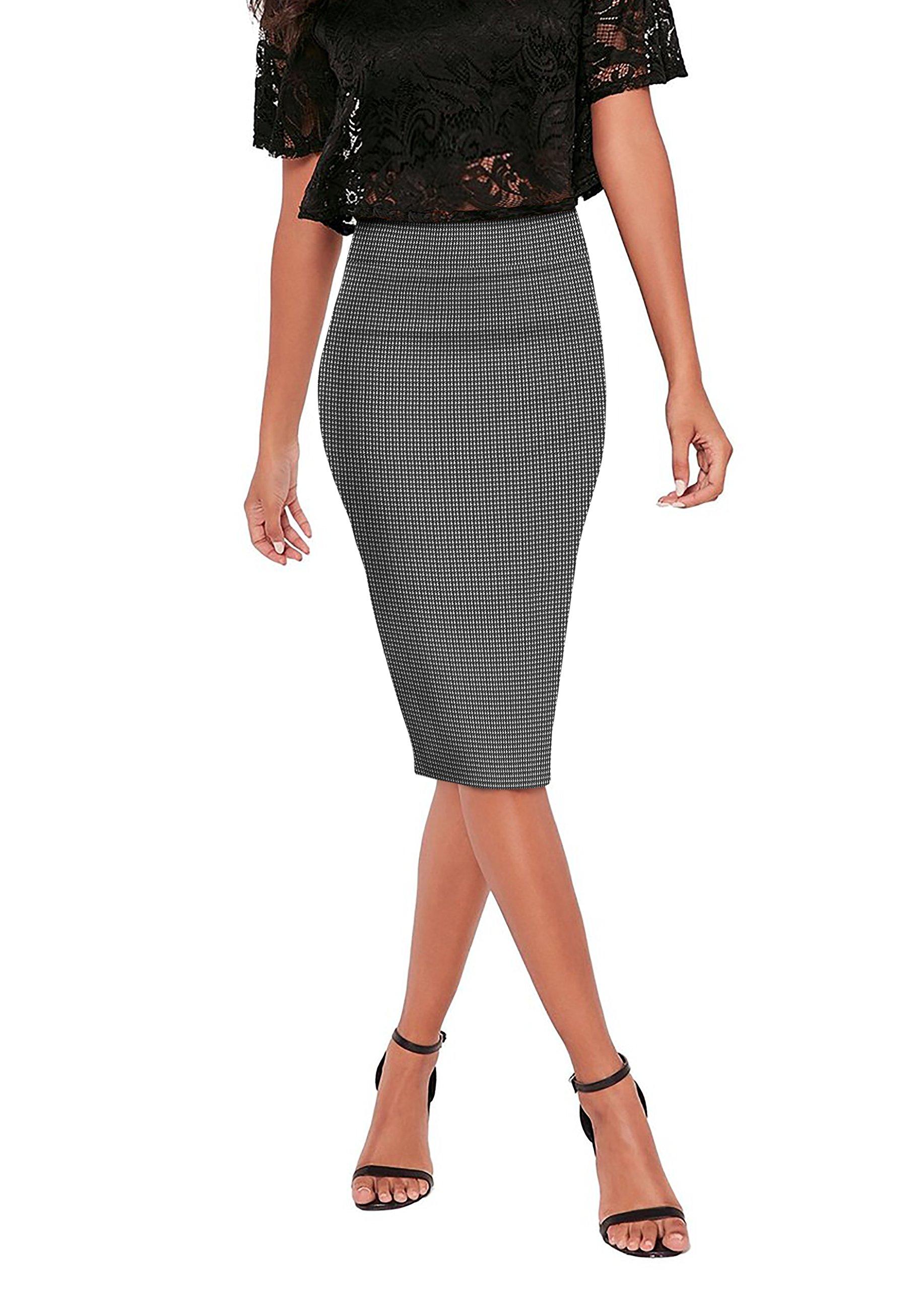 HyBrid & Company Womens Pencil Skirt for Office Wear KSK43584X 10690 Black/IVOR 1X by HyBrid & Company (Image #3)